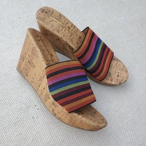 Slip On Wedge Sandal Heel Multicolor Stripes